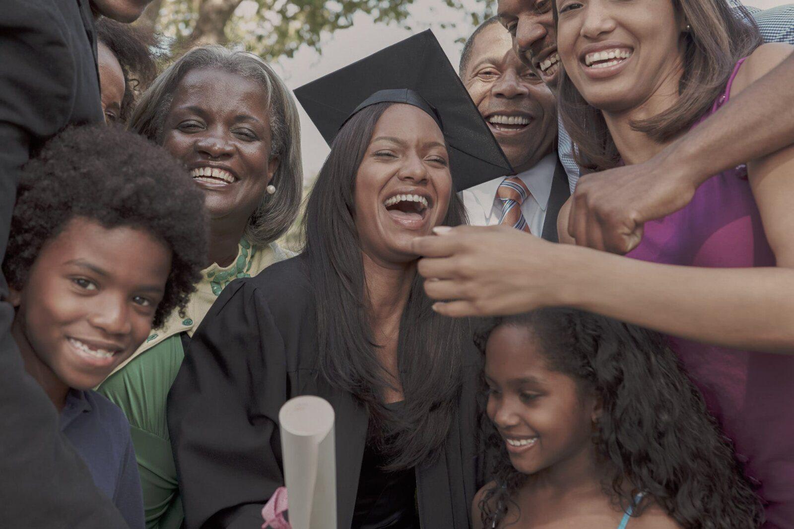 Graduate family celebrating