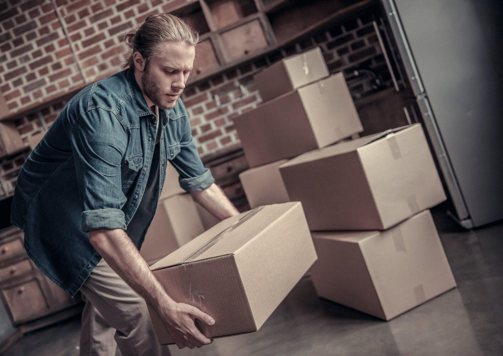 Man lifting boxes