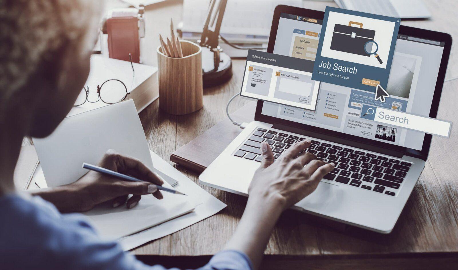 Women job searching on laptop