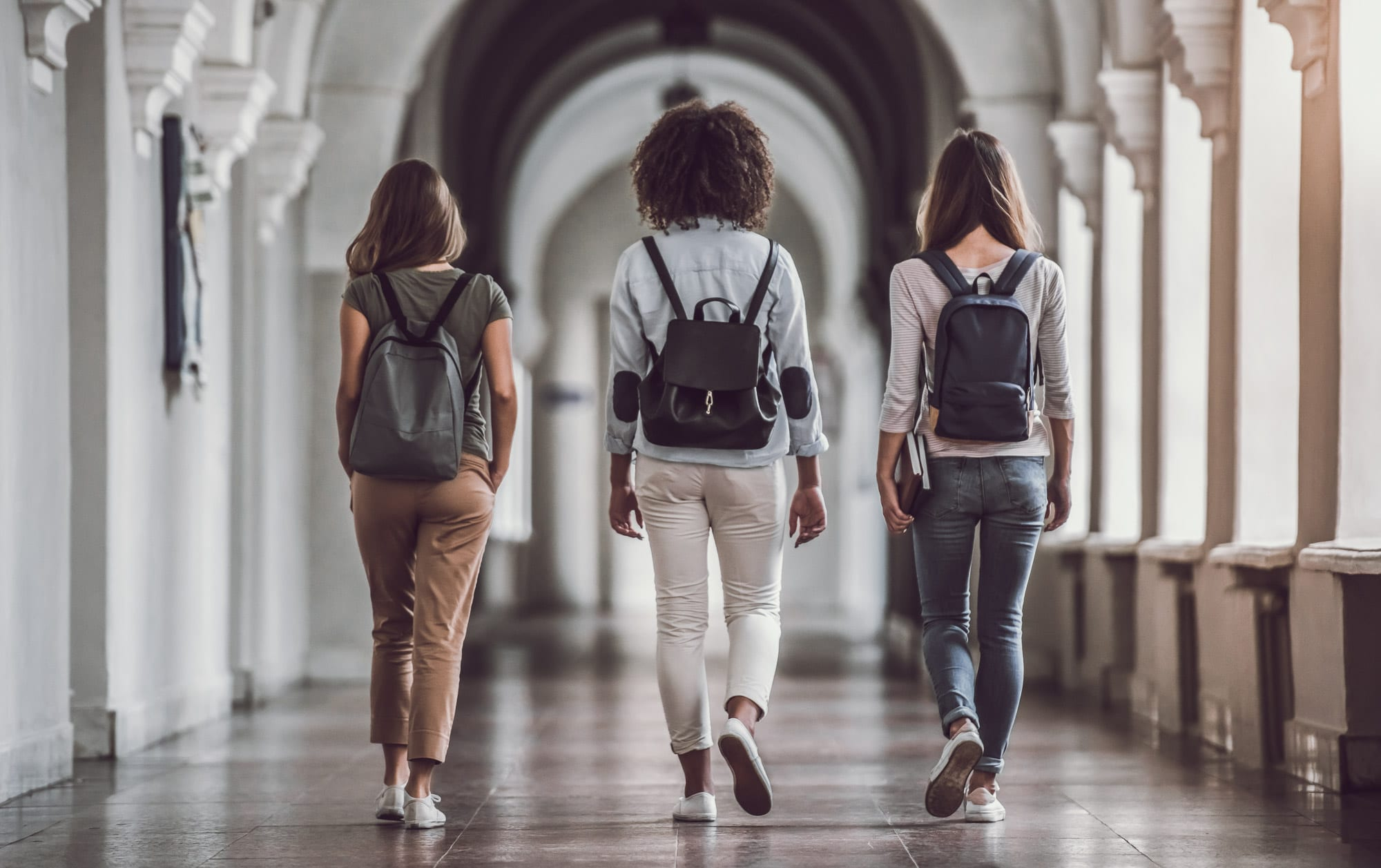Women walking down a hall